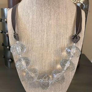 Gray Velvet Clear Stones Statement Necklace